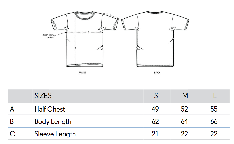 Measures Chart - tshirts